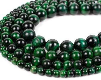 "Green Tiger Eye Beads 4mm 6mm 8mm 10mm 12mm Wholesale Round Gemstone 15.5"" Full Strand mala stones"