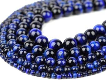 "Blue Tiger Eye Beads 4mm 6mm 8mm 10mm 12mm Wholesale Round Gemstone 15.5"" Full Strand mala stones"