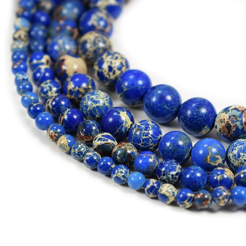 Blue  Sea Sediment Jasper Beads 4m 6mm 8mm 10mm 12mm Regalite image 0