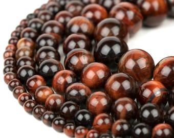 "Red Tiger Eye Beads 4mm 6mm 8mm 10mm 12mm 14mm Wholesale Round Gemstone 15.5"" Full Strand mala stones"