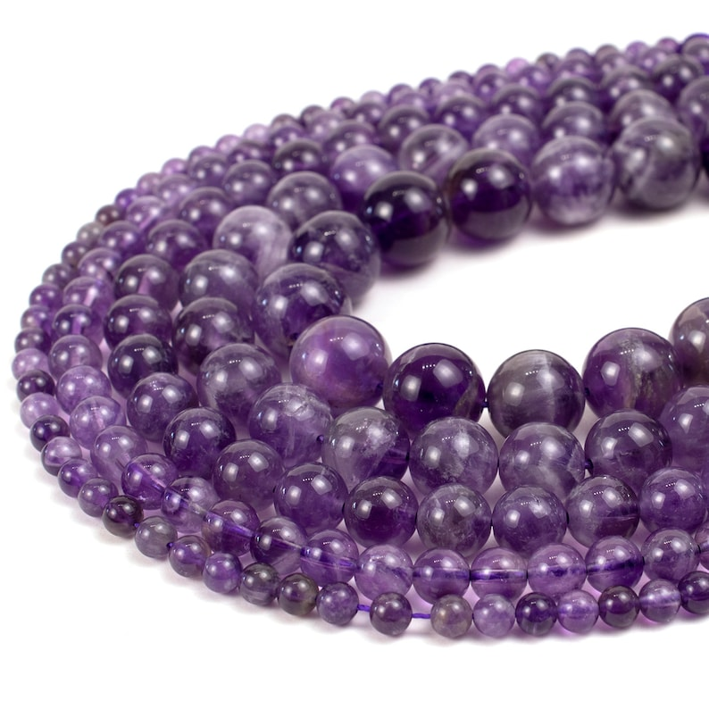 Natural Amethyst Beads 4mm 6mm 8mm 10mm 12mm 14mm Polished image 0