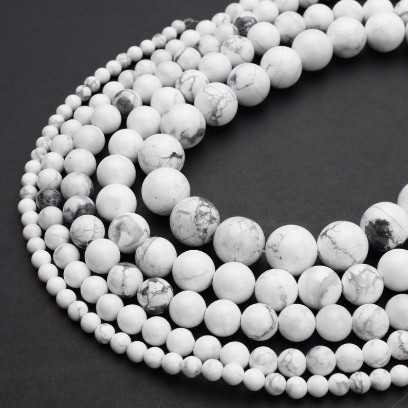 Natural White Howlite Beads 4mm 6mm 8mm 10mm 12mm Round image 0