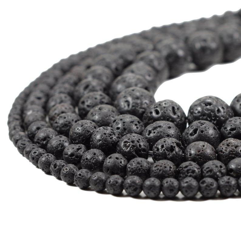 Natural Lava Beads Full Strand 15.5 inch Round Black image 0
