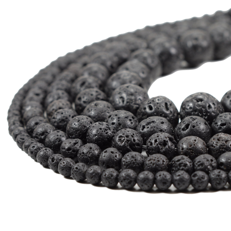 Gemstones wholesale mala Natural Lava Beads 4mm 6mm 8mm 10mm 12mm 14mm Round Black Volcanic Rock Full Strand 15.5 inch