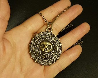 26 ''Aztec Coin Necklace, Pirates of the Caribbean Jewelry, Pirate Skull Hot Necklace