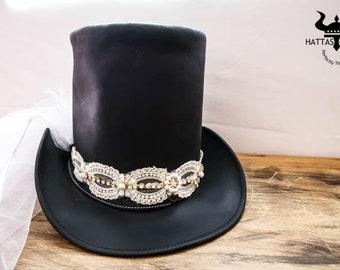 A Tall Veil Top Hat