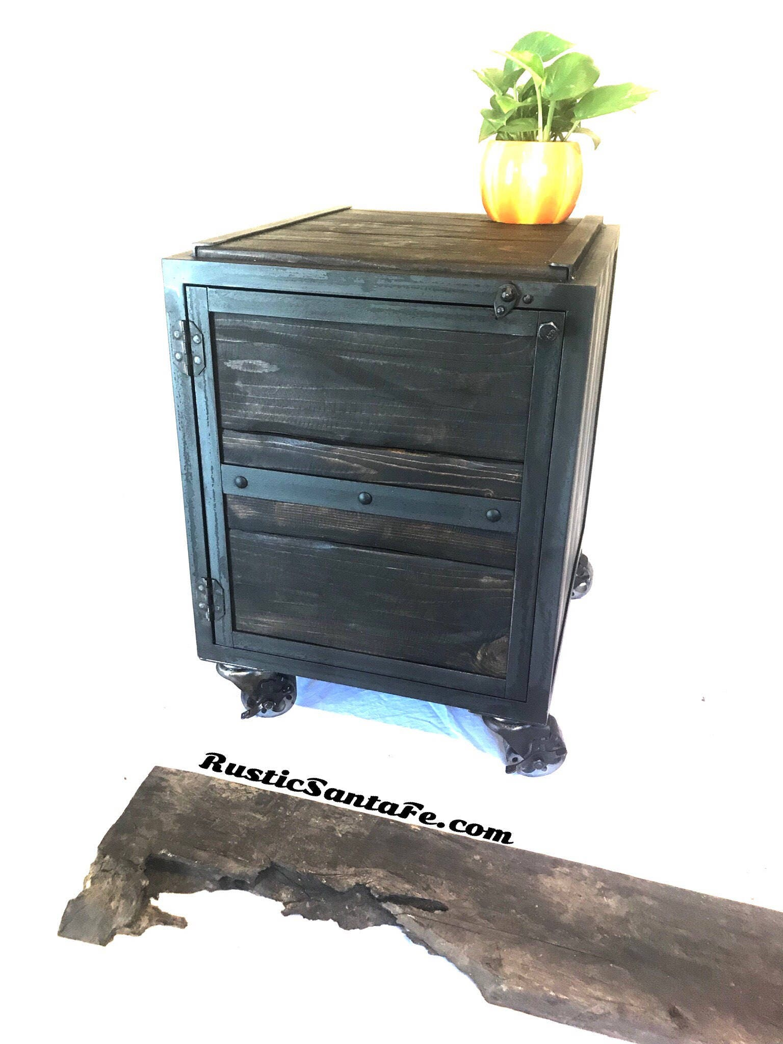 Rustic Nightstand With Reclaimed Wood And Steel Rustic Wood