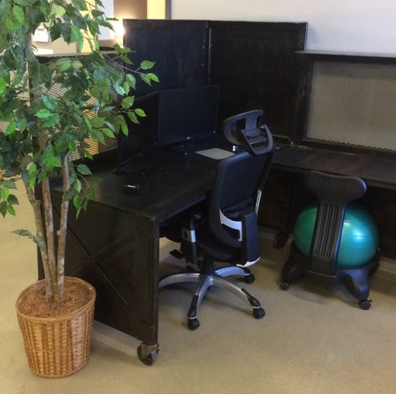Industrial office desk/cubicle. Industrial style reception desk, rolling  supervisor stations, urban, vintage, office furniture