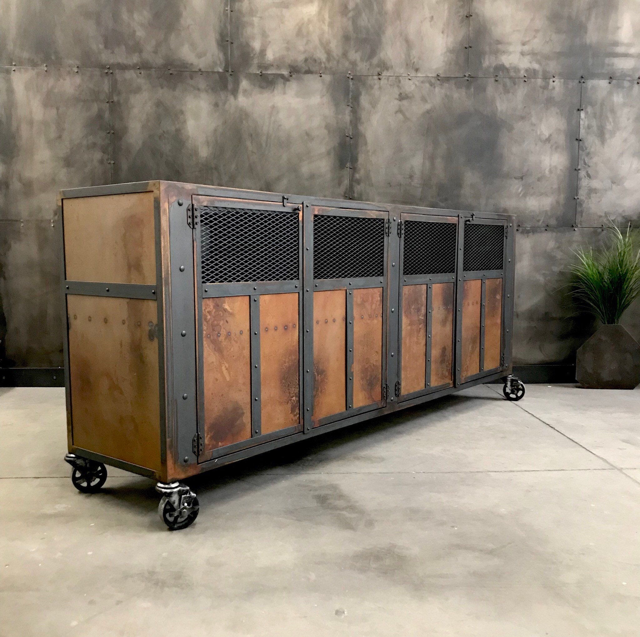 Industrial steampunk themed buffet tv stand metal cabinet ...