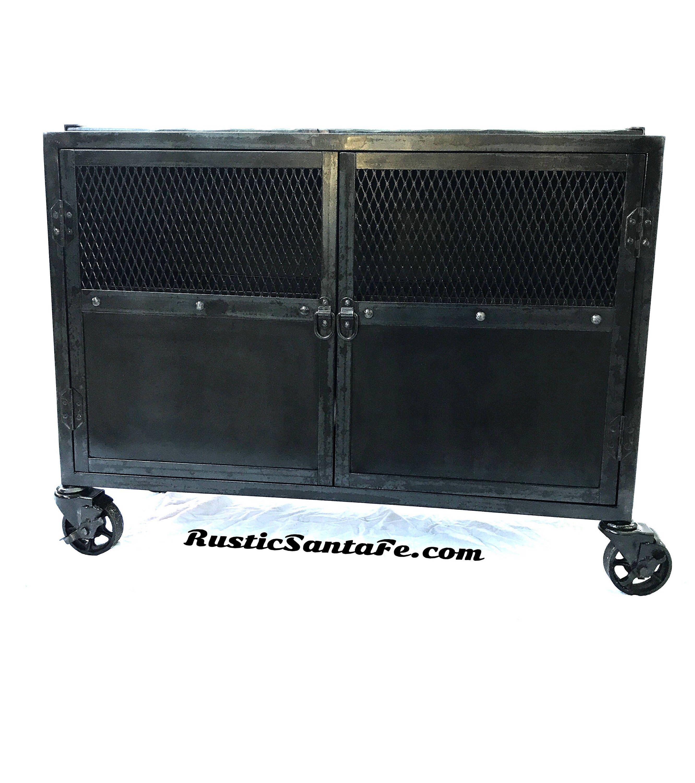 Black Industrial Steel Cabinet Metal Tv Stand Media Cabinet