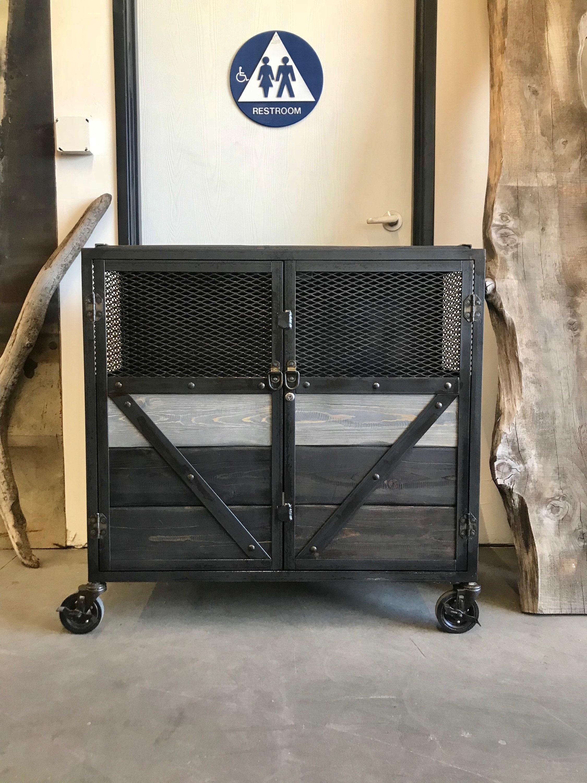 Industrial Wood And Steel Cabinet, Locking Liquor Cabinet, Pantry Locker,  Booze Cart, Liquor Cart, Urban/modern/ Mid Century