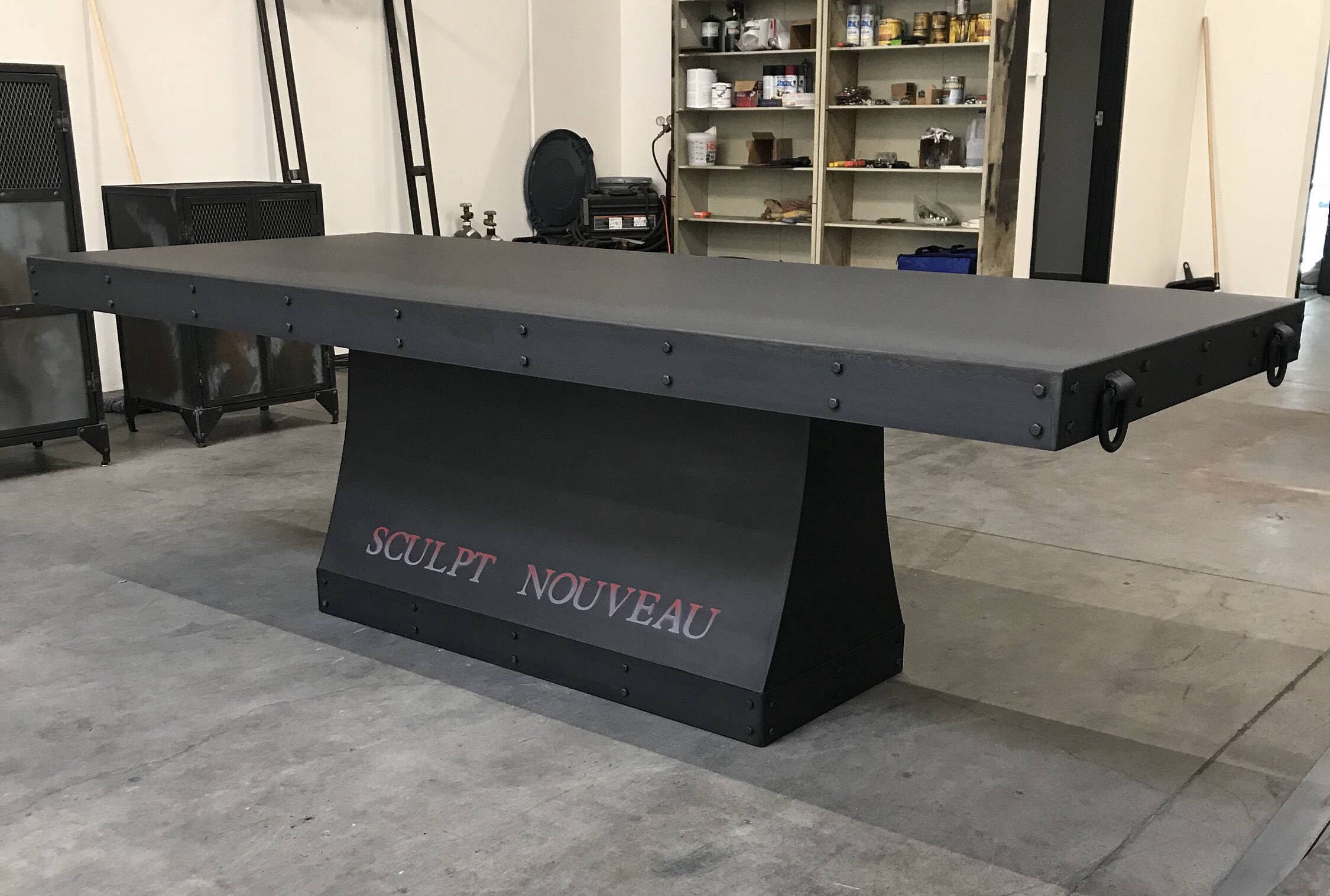 Industrial steel dining room table, metal conference table ...