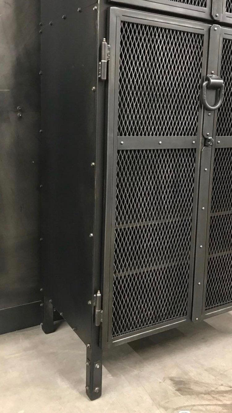 Tall Patinated Steel Locking Storage Cabinet Locking