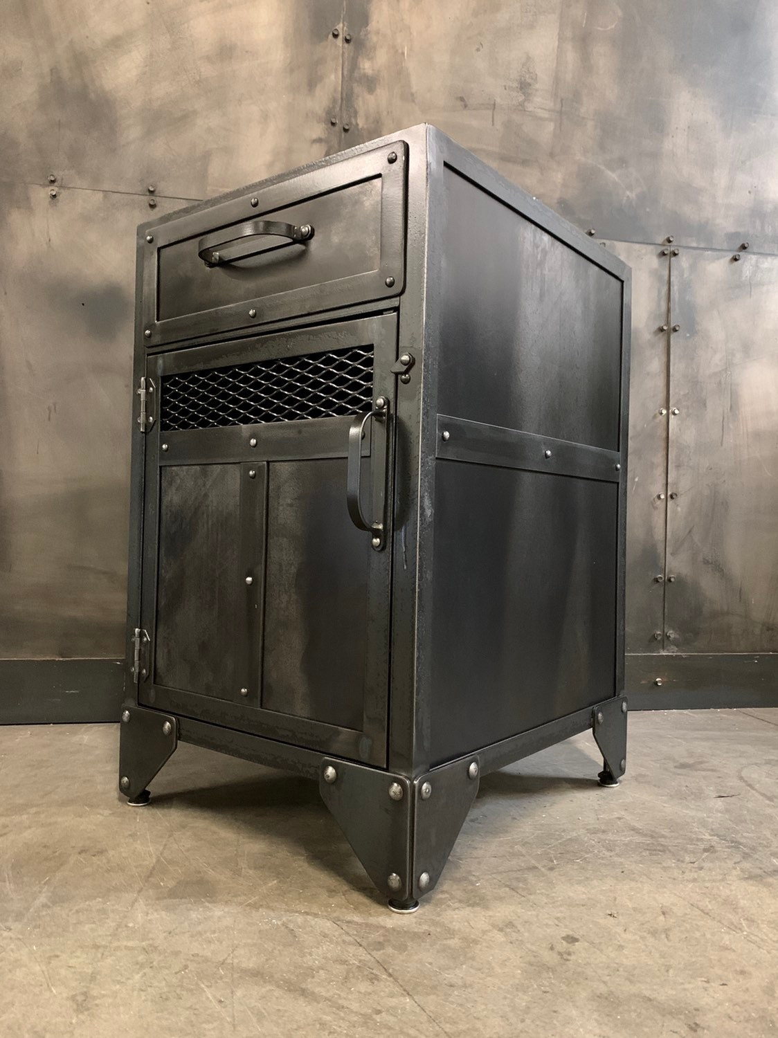 Industrial Steel Nightstand Aged Metal End Table With Drawer
