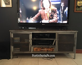 """68"""" industrial media console, industrial tv stand, rustic console, urban loft"""