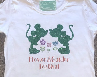 Epcot Flower Garden Festival Kissing Mickey Minnie Topiary Disney Inspired Flower Spring Floral White Shirt Custom Family Vacation Holiday