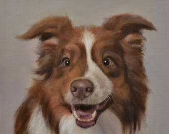Pet portrait, Custom Pet Oil Painting From your Photo,   unstretched, Size 8X10 or larger (not framed)  international ,3-4 weeks lead time