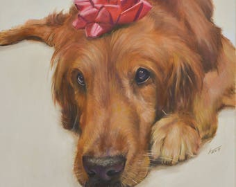 Pet portrait, Custom Pet Painting From your Photo,  Oil Painting Portrait ON CANVAS unstretched, Size 8X10 or larger (not framed)