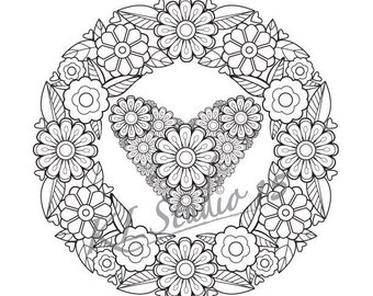 Coloring Page Flowers Heart Instant Download Relax Mandala Designs To Color For Adults Print And