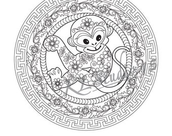 Happy Chinese New Year Coloring Page Instant Download Relax Mandala Designs To Color For Adults Print And