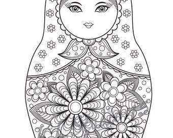 matryoshka doll coloring page instant download relax mandala designs to color for adults to print and color
