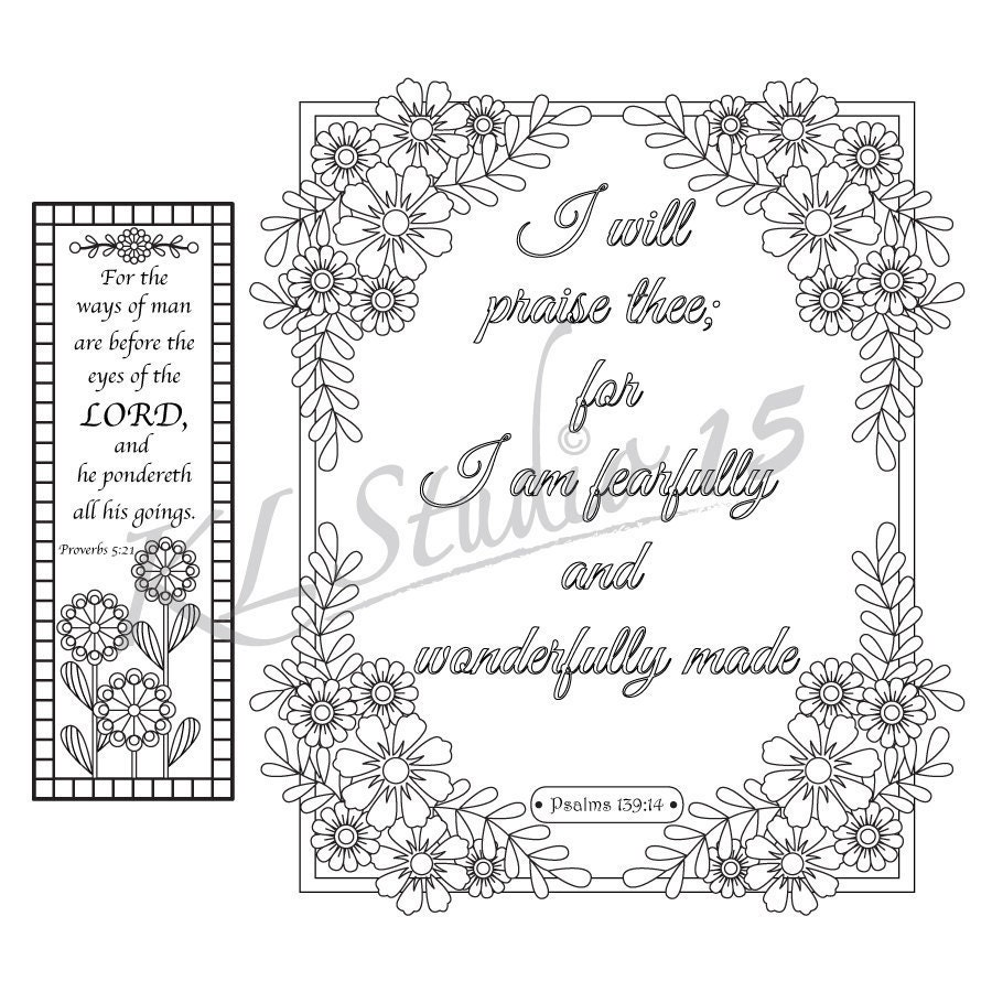 Bible Verse Coloring Pages 1 Coloring Page With 1 Coloring Etsy