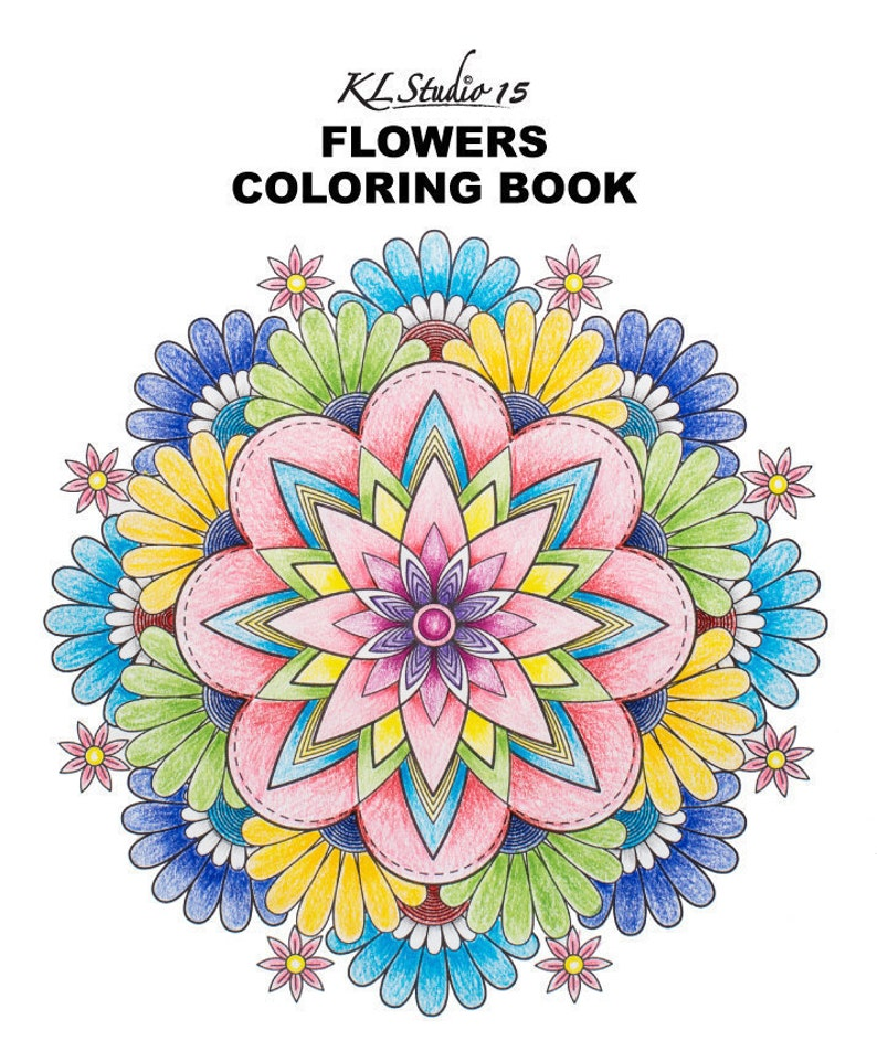Adult Coloring Book - 10 flowers coloring pages , Instant Download, Relax  Flowers Mandala Design to Color for Adult to Print and Color
