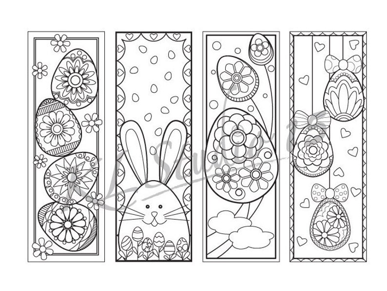 Easter Coloring Bookmarks Page Instant Download Relax | Etsy