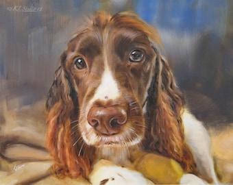 Pet Portrait, Dog Portrait, Hand Painted Art, Custom Portrait, Portrait from Photo, Oil Painting, Holiday Gift, Pet Art, (not framed), Cat