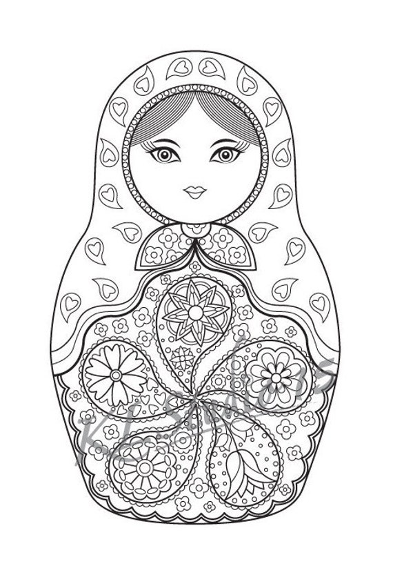Matryoshka Doll Coloring Page Instant Download Relax