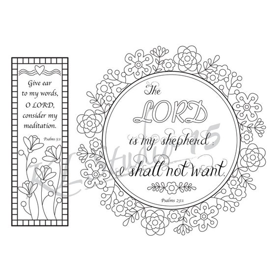 Bible Verse Coloring Pages2 1 Coloring Page With 1 Coloring Etsy