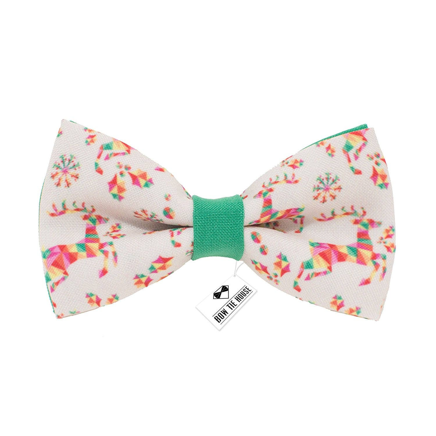 e9a2235eb287 Bow Tie House Bright Deer bow tie green color Christmas | Etsy