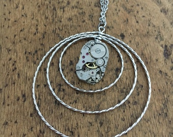 Steampunk necklace, long necklace, goldchain, silver watch movement, steampunk jewelry
