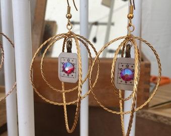 silver watch earrings, pink violet swarovski stones, steampunk earrings, steampunk jewelry, vintage jewelry
