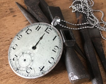 Silver necklace, old silver dial watch, steampunk necklace, steampunk jewelry