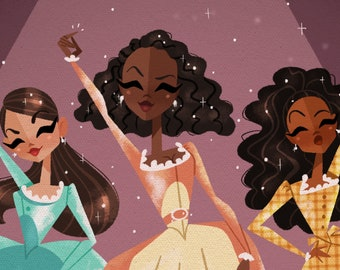 The Schuyler Sisters • Hamilton • Lin-Manuel Miranda • Musical Art • Illustration • Print • DesignedByShea