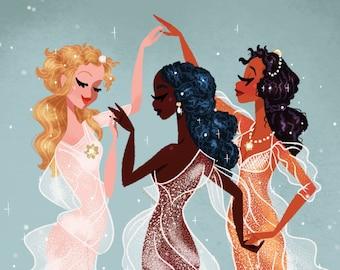 Three Graces • Botticelli • Inclusivity • Renaissance • Vintage • Art • Fan Art • Illustration • Print • DesignedByShea