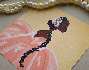 Black Princess • Fairytale Art • Magic • Princess Tiana • Vintage • Art • Illustration • Print • DesignedByShea