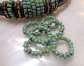 6 Handmade Licorice Beaded Rings , Turquoise Picasso 8 0 Seed Beads,inner hole 10x6mm Beaded Sliders, leather bracelet finding6