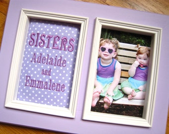 Baby girl picture frame Sisters 5x7 Personalized Picture Frame Sister gift Lavender polka dot Personalized SISTERS frame Big Sister gift