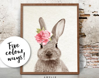 Bunny Rabbit Print, Nursery Printable Wall Art, Woodland Decor, Nursery Animal Poster, Watercolour Flower, Digital Download, Woodland Bunny
