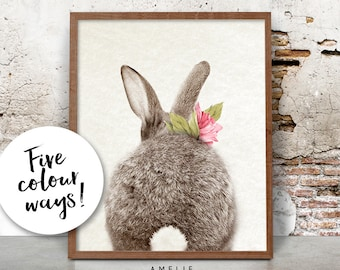Rabbit Tail Print, Woodlands Decor, Nursery Wall Art, Watercolour Flower, Printable Pink Peach Yellow Mint Lavender, Shabby Cottage Chic