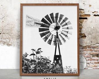 Farmhouse Printable, Windmill Print, Black and White Photography, Digital Download, Wall Art Decor, Farm Art Photo, Farmhouse Style