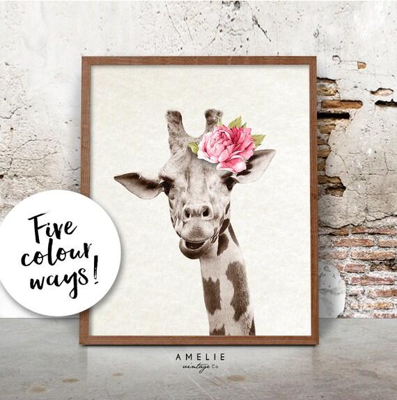 Imprimir jirafa Safari vivero cuadros animales arte acuarela | Etsy