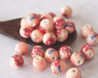 10 Ceramic Floral Beads Round Pink Crimson Size 8mm