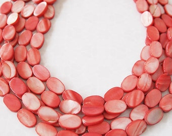 Strand Mother Of Pearl Oval Shell Beads Crimson Red Strawberry Size 15 x 10mm QTY approximately 26 beads