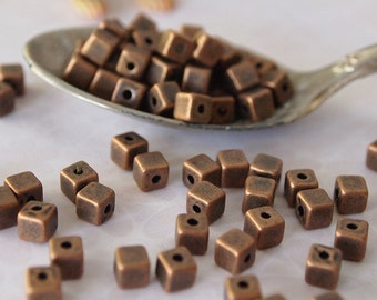 30 Metal Cube Beads Copper Tone Size 4mm