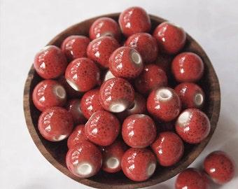 10 Ceramic Porcelain Glazed Round Beads Red size 8mm