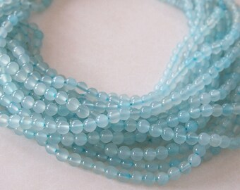 Strand Gemstone Agate Beads Translucent Light Blue Size 6mm Quantity 64 Beads