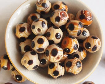 6 Ceramic Porcelain Glazed Round Beads Ochre Black Dots size 12mm